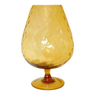 Mid-Century Amber Glass Empoli Glass Brandy Snifter