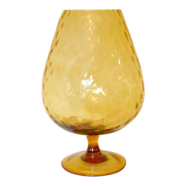Mid Century Amber Glass Empoli Glass Brandy Snifter Chairish