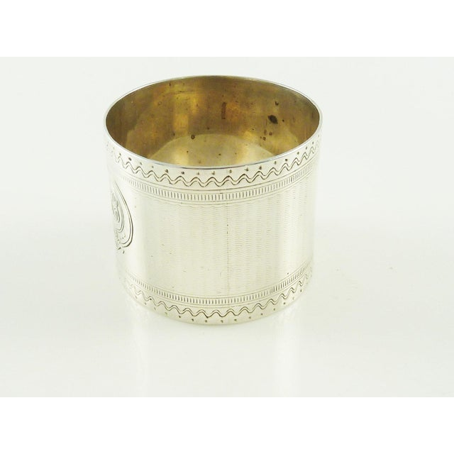 Traditional Antique Victorian Era Sterling Silver Childs Napkin Ring Christening Gift For Sale - Image 3 of 7