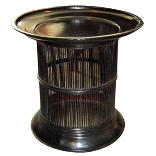 Black Lacquered Bamboo Drum Table From Thailand For Sale