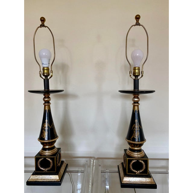 1970s Italian Hand Painted Neoclassical Style Gilt Wood Lamps - a Pair For Sale - Image 5 of 13