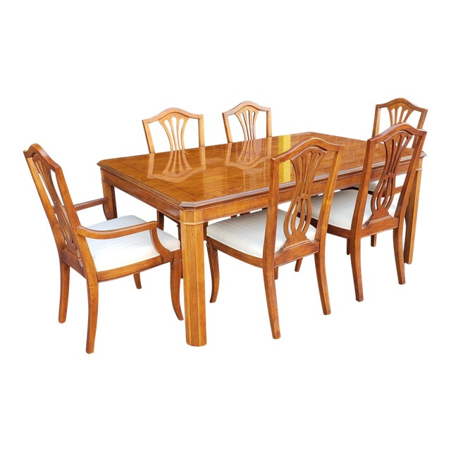 1990s Vintage Drexel Heritage Yorkshire Collection Yew Wood Dining Table Set 7 Pieces For Sale