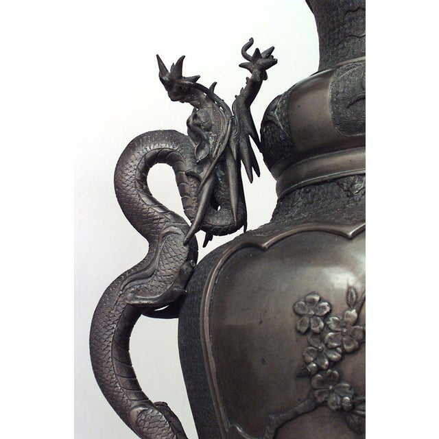Pair of Asian Japanese Style Bronze Palace Urns For Sale In New York - Image 6 of 8