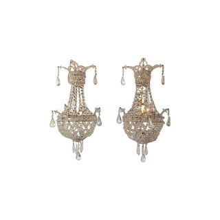 Crystal Beaded Basket with Prisms and Mirrors Sconces For Sale
