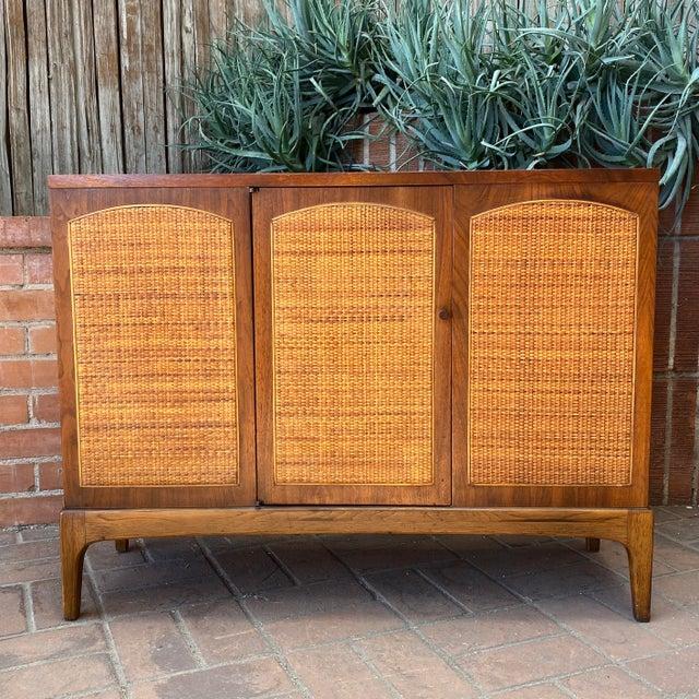 "Mid-Century Modern Lane ""Rhythm"" Walnut and Cane Cabinet For Sale - Image 10 of 10"