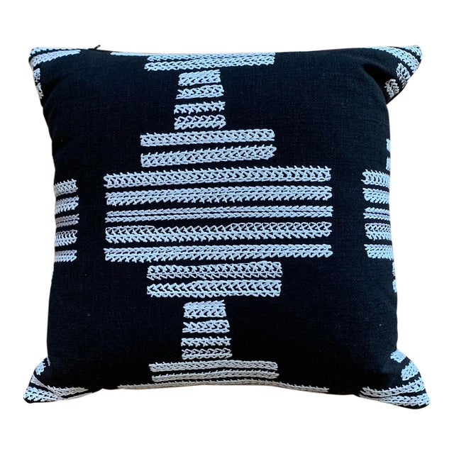 Black Pillows With White Embroidery Pattern For Sale