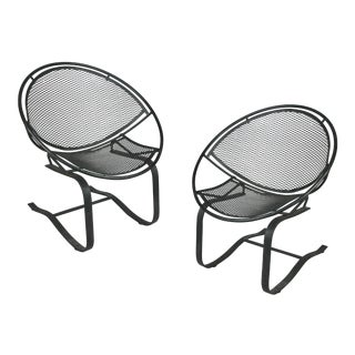 1950s Vintage Wrought Iron Radar Lounge Chairs by Salterini- A Pair For Sale