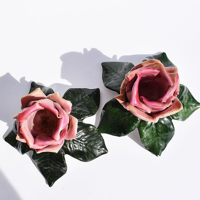 Dresden Ceramic Porcelain Floral Pink and Green Candle Holders, Germany - a Pair For Sale - Image 6 of 7