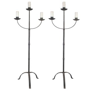 Pair of Early Italian Cast Iron Standing Floor Candelabras With Three Arms For Sale