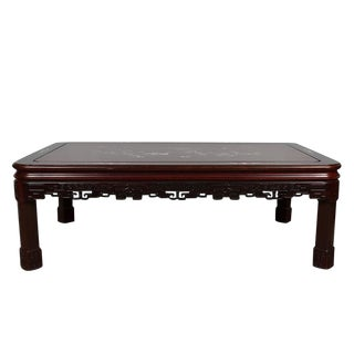 Vintage Chinese Carved Rosewood With Mop Inlayed Coffee Table For Sale