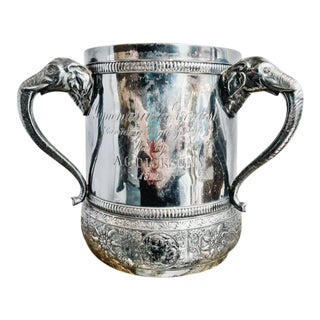 1892 Silver Plated Trophy Cup With Figural Elephant Handles For Sale