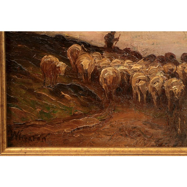 American Barbizon Painting of Sheep at Evening by Francis Wheaton For Sale - Image 6 of 11