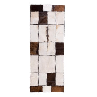 "Unique Handmade Cowhide Patchwork Hallway Runner - 6'7"" X 2'7"""