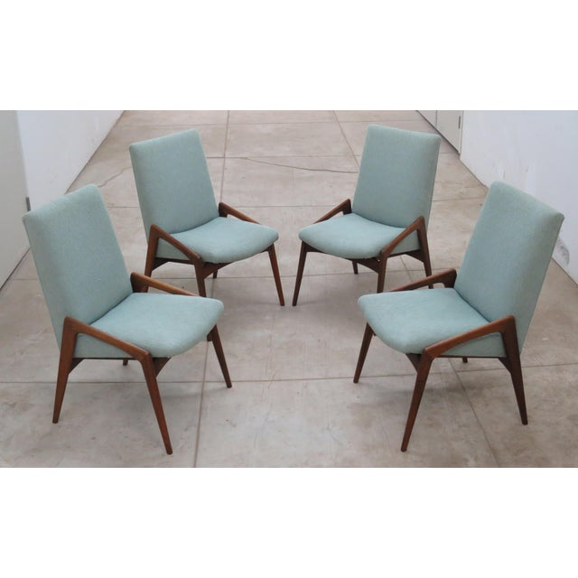 Midcentury Modern Walnut Dining Chairs - Set of 4 - Image 2 of 10