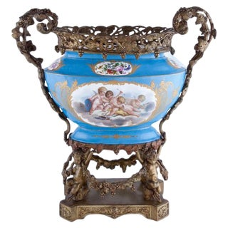 Bronze and Sèvres Style Porcelain Centerpiece, 19th Century For Sale