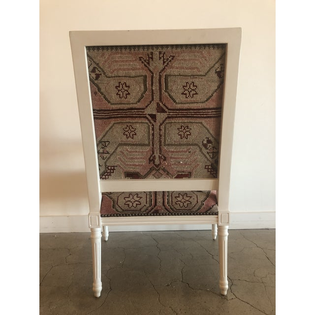 Wood Vintage Carved Italian Chair Upholstered in Antique Rug For Sale - Image 7 of 8