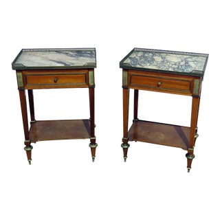 Pair of Louis XVI Style Marble Top Side Tables