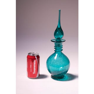 Mid-Century Teal / Peacock Crackle Glass Decanter by Blenko Preview