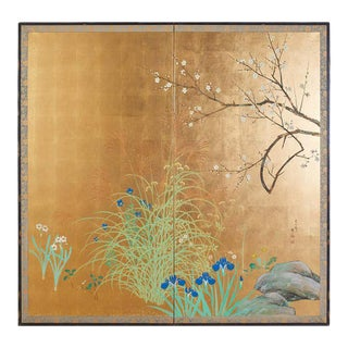 Japanese Signed Two Panel Screen Flowering Landscape For Sale