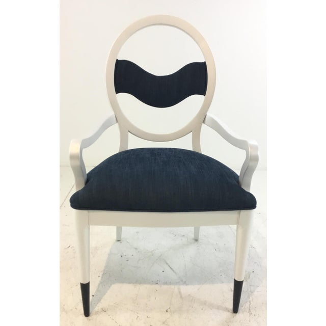Modern Caracole Modern Prototype Blue and White Wave Dining Chairs Set of Ten For Sale - Image 3 of 9