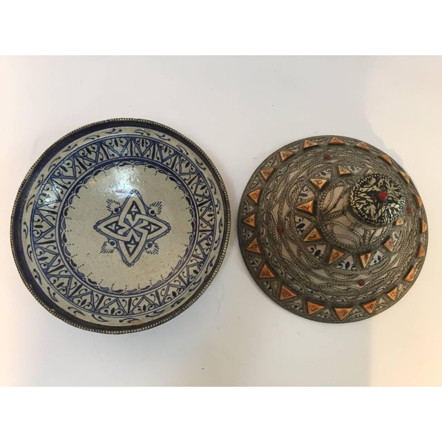 Moroccan Ceramic Polychrome Tajine with Leather Stones and Metal Overlay For Sale - Image 4 of 10