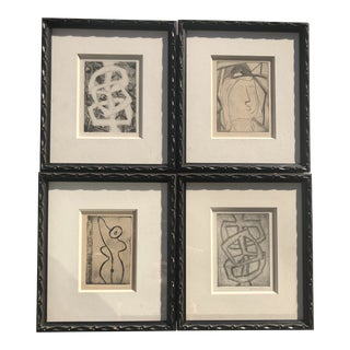 Vintage Mid-Century French Etching Prints - Set of 4 For Sale