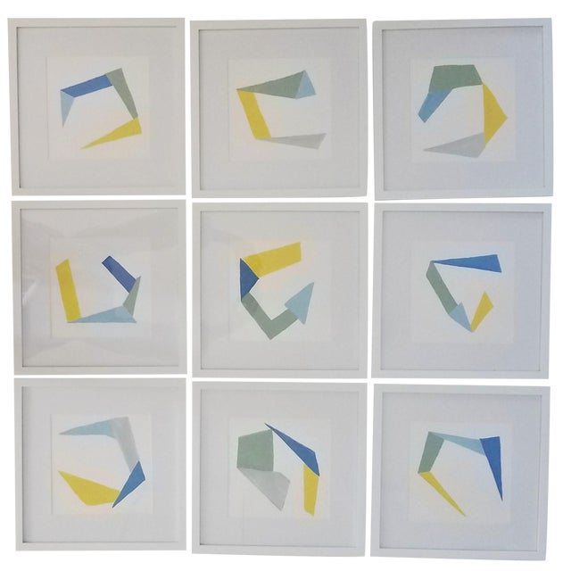 Hand Painted Geometric Abstracts on Watercolor Paper Framed - 12 X12 - Set of 9 For Sale