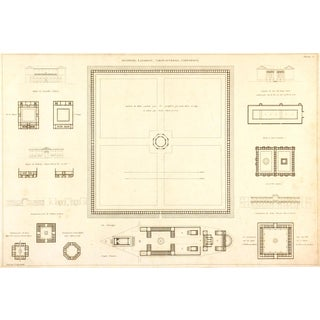 Antique Architectural Print Engraving, 1800