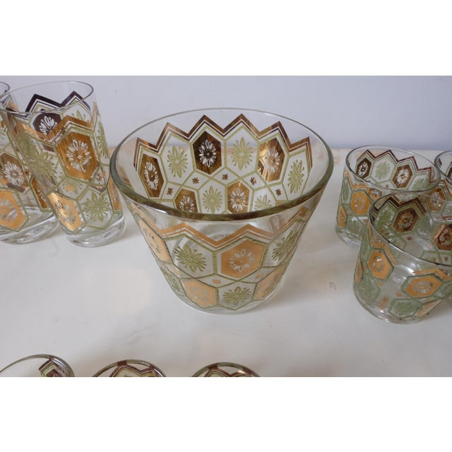 Vintage Gold Green Ice Bucket With Glasses - Set of 13 For Sale In New York - Image 6 of 12