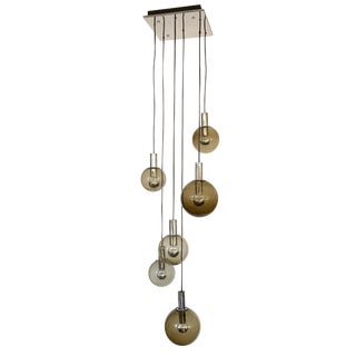 Raak Smoked Glass Six Globe and Chrome Pendant Chandelier For Sale