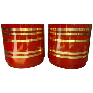 Burl Wood and Brass Striped Side Drum Tables, Pair For Sale