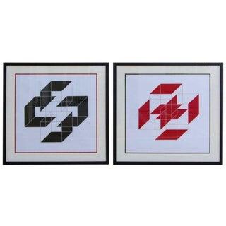 """1975 """"Fusion"""" Op Pop Art Lithographs- A Pair For Sale"""