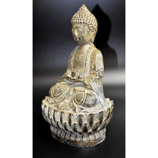Asian 19th Century Antique Bronze Buddha Statue For Sale - Image 3 of 13