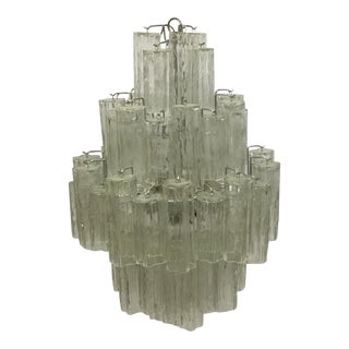 1970s Art Deco Green Murano Glass Chandelier