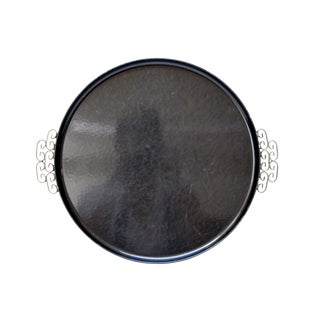 Kyes Vintage 1960s Black Round Tray