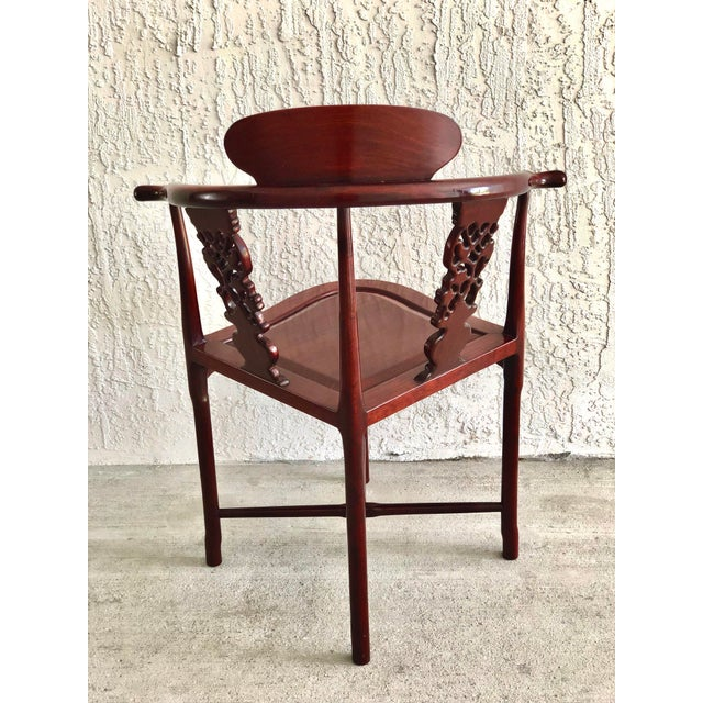 Asian Style Hand Carved Rosewood Oriental Corner Chair For Sale - Image 4 of 13