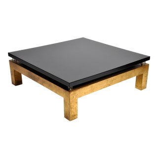 Mid-Century Modern French Lacquer Top Coffee Table For Sale