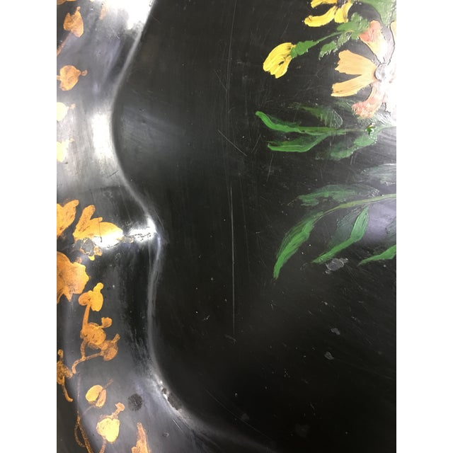 1940s Vintage Tole Tray Black With Hand Painted Floral Design For Sale - Image 5 of 8