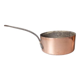 Large Antique French Copper Saucepan Pot For Sale