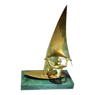 1970s Wind Surfer Brass & Marble Sculpture For Sale