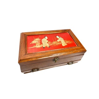 1940's Vintage Hand Made Wooden Jewelry Box With Jadeite Figures on the Top For Sale