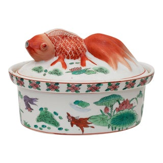 Qing Dynasty Chinese Famille Rose Porcelain Koi Fish Tureen For Sale