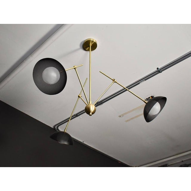Insetto Articulating Chandelier in Enameled Mesh & Brass by Blueprint Lighting For Sale - Image 9 of 9