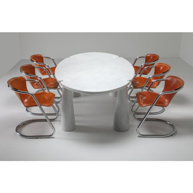 White Carrara Marble Dining Table by Angelo Mangiarotti - 1970s For Sale - Image 8 of 13