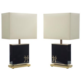 Pair of Large Mid Century j.c. Mahey Black Lacquer and Brass Table Lamps 1970s For Sale