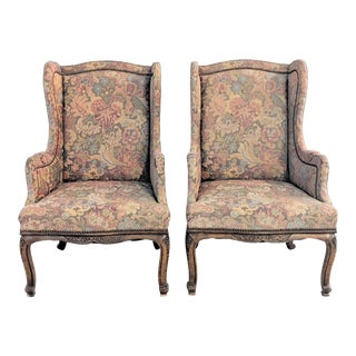 Antique Oak French Style Wingback Chairs- a Pair For Sale