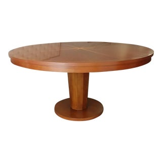Art Deco Henredon Furniture Barbara Barry Celestial Walnut Round Dining Table For Sale