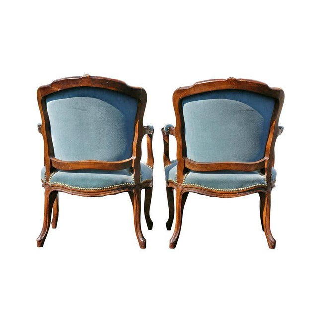 Pair of Louis XV Style Walnut Fauteuil For Sale - Image 9 of 11