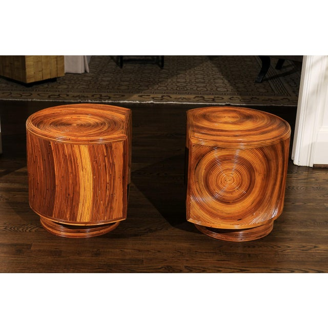 Chic Restored Pair of Swivel Bamboo and Black Lacquer End Tables, Circa 1975 For Sale In Atlanta - Image 6 of 13