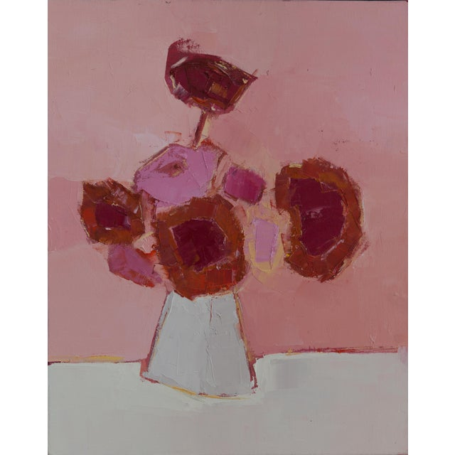 """Bill Tansey """"Pink"""" Abstract Floral Oil on Canvas For Sale"""